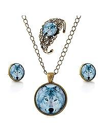 lureme® Time Gem Series Simple Vintage Style Pendant Necklace Stud Earrings Bangle Jewelry Sets(SET005)