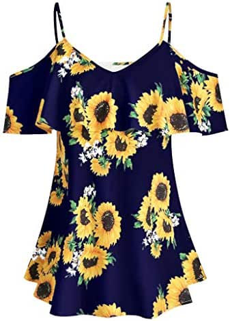 LUXISDE Floral Blouses for Women Tops Plus Size Women Sunflower Printed Camis Short Sleeve Ruffles Cold Shouder Blouse