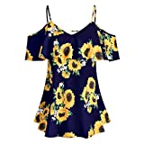 LUXISDE Womens Tops Womens Tops Short Sleeve Plus Size Women Sunflower Printed Camis Short Sleeve Ruffles Cold Shouder Blouse(Navy,L)