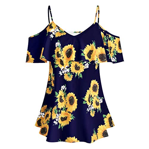 ℱLOVESOOℱ Women Plus Size Swing Blouse Sunflower Printed Strap Ruffles Short Sleeve V-Neck Cold Shouder Tunic Shirts Tops Navy ()