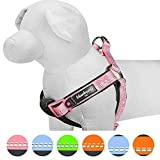 Blueberry Pet 4 Colors Soft & Comfy New 3M Reflective Step-in Pastel Color Padded Dog Harness, Chest Girth 15.5'' - 19.5'', Pastel Pink, Small, Adjustable Harnesses for Dogs