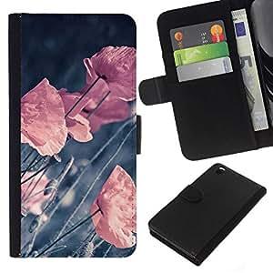 All Phone Most Case / Oferta Especial Cáscara Funda de cuero Monedero Cubierta de proteccion Caso / Wallet Case for HTC DESIRE 816 // RETRO VIGNETTE PASTEL FLOWERS