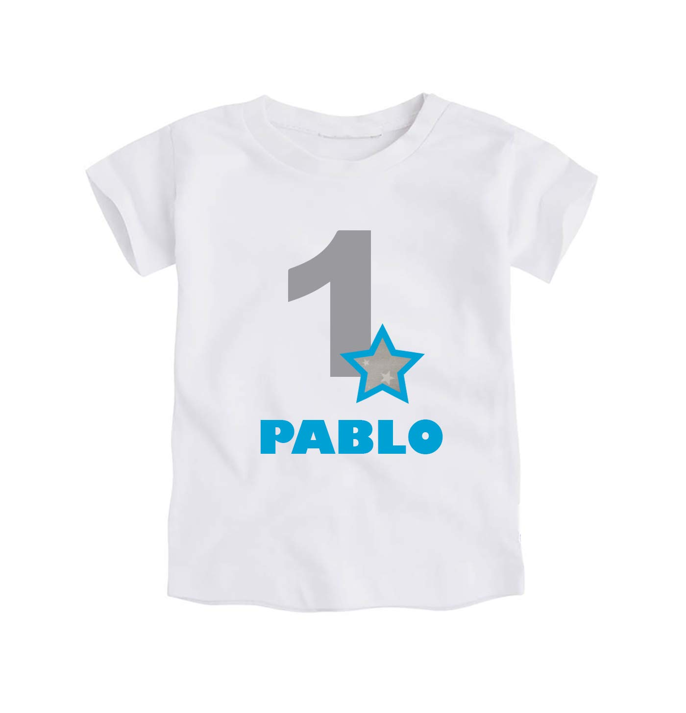 Camiseta o Body Primer Cumpleañ os 1 Añ o/Personalizado con el Nombre/para Bebes Niñ os/Color Gris y Azul Turquesa