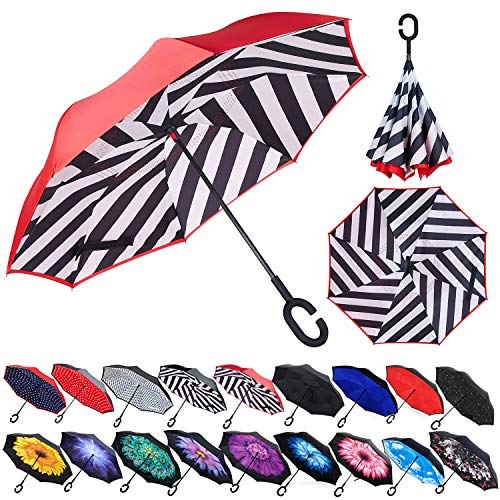 Zameka Double Layer Inverted Umbrellas Reverse Folding