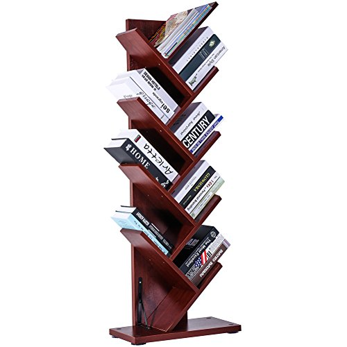 SUPERJARE 9-Shelf Tree Bookshelf | Thickened Compact Book Rack Bookcase | Display Storage Furniture for CDs, Movies & Books | Holds Up To 10 Books Per Shelf | Cherry Big Book Rack