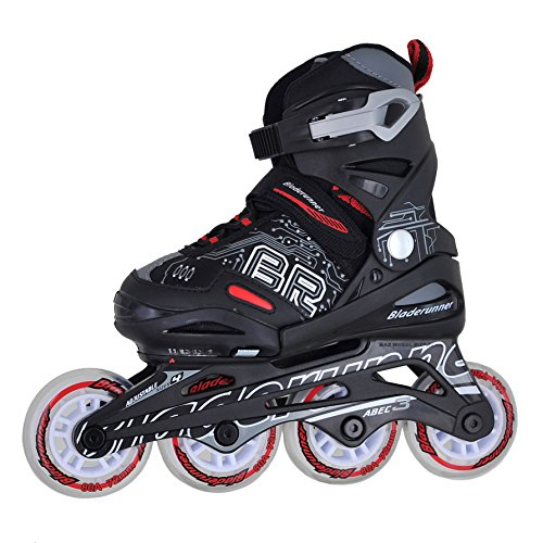 Bladerunner by Rollerblade Phoenix Boys Adjustable Fitness Inline Skate, Black and Red, Junior, Value Performance Inline Skates