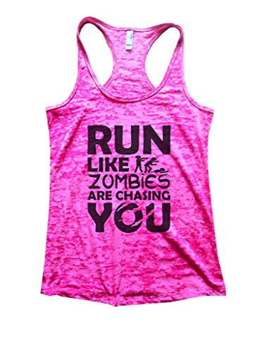 Womens Run Like Zombies Are Chasing You Burnout Tank Top Runing Shirt Funny Threadz (Small, Shocking (Zombie Women)