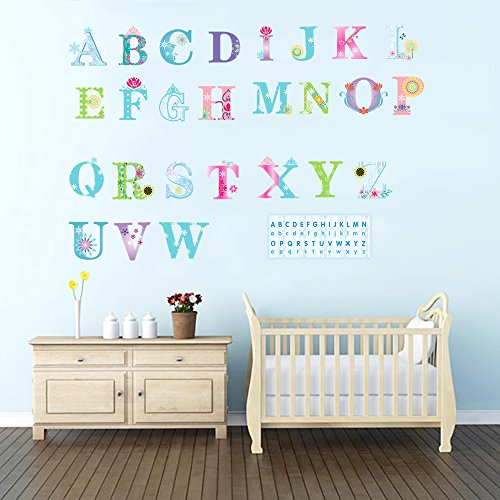 DecalMile Alphabet Early Education Wall Stickers Removable DIY Wall Decals Murals For Kids Children's Room Nursery Classroom