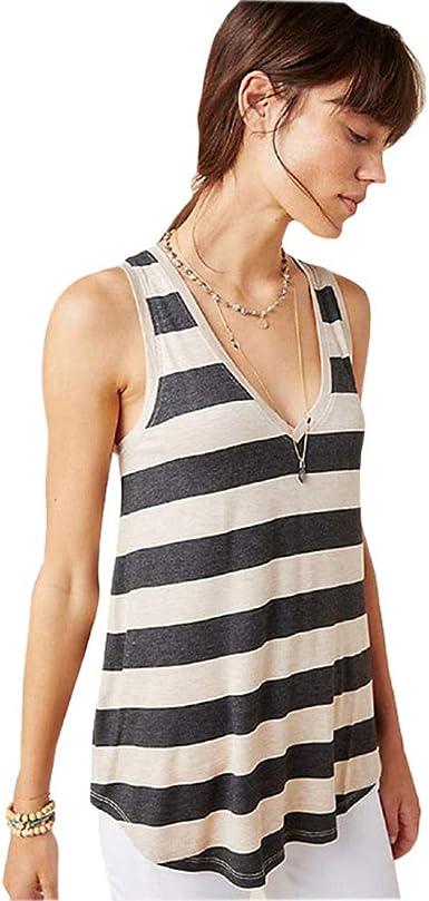 Lvguang Camiseta de Verano con Cuello en V a Rayas Camiseta ...