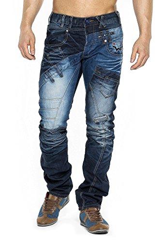 MEGASTYL Herren Hose Trendy Jeans Dynamic-Look Dunkel-Blau Japan-Style Regular Fit Baumwolle