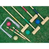 4 PLAYER COMPLETE WOODEN OUTDOOR GARDEN CROQUET SET MALLET BALLS TOY FUN by Express trading