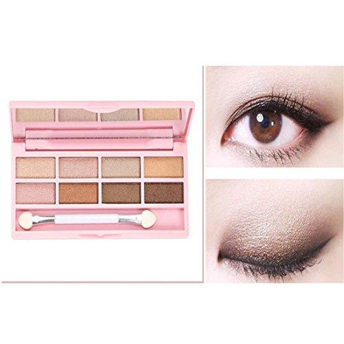 Molyveva 8 Colors Pro Makeup Eyeshadow Shimmer Mate Palette Brush Mirror Cosmetic Set