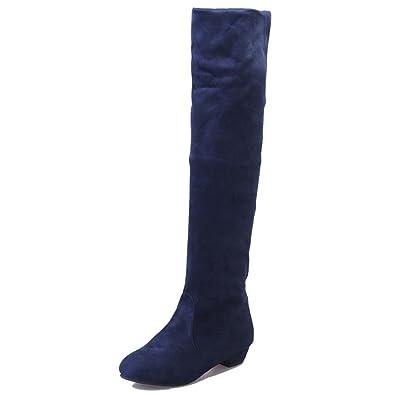 cbd63d3e620 Botte FantaisieZ Femmes Hiver Automne Plat Bottes Chaussures Haute Daim  Bottes Longues en Daim Bottes Hautes