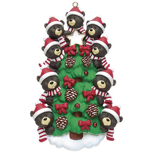 Personalized Bear Tree Family of 9 Christmas Ornament 2019 - Cute Parent Child Friend Santa Hat Garnish Cone Black Tradition Gift Year Winter Eve Holiday Sibling Kid - Free Customization (Nine)