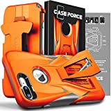 CASE FORCE Cell Phone Case Compatible With iPhone 8 Plus/7 Plus [Velocity Series] for Girls Women Men, Kickstand Heavy Duty Military Grade Drop Protection Holster with Belt Clip (Orange/Gray)