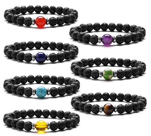 7 Chakras Stretch Bracelet J.Fee Healing Gemstone 7 Pack Jewelry Set Oil Diffuser Bracelet Beaded Crystal Adjustable Bracelet Yoga Mala Lava Stone Bracelet Christmas Birthday Gifts for Women Men Boy