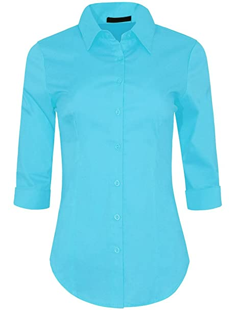 e1ca8313889 Iron Puppy Womens 3 4 Sleeve Skinny Button Down Collared Shirts With  Stretch Small Aqua