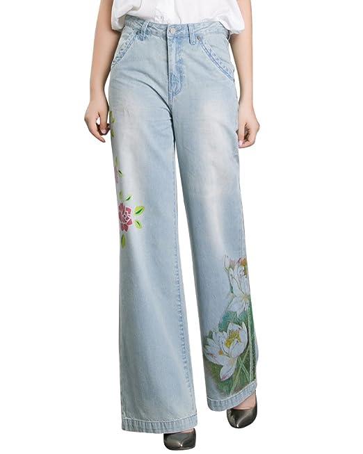 Pantalones Vaqueros Anchos Estampados Mujer Cintura Alta ...