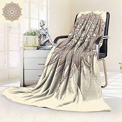 Soft Plush Warm Duplex printed blanket Mandala Ethnic lace round ornamental Can be used tofabric design ative paper embroidery tattoo etc Anti-Static,2 Ply Thick,Hypoallergenic/59