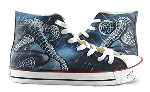 - Customized Black Hand Painted Canvas Athletic Shoes Spiderman Sneakers High Top Man Woman's Outdoor Sports Sneakers
