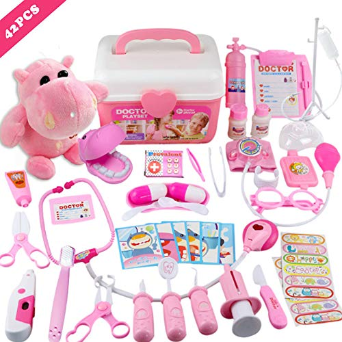 MorTime 42 Pcs Examine & Treat Pet Vet Play Set, Children's Medical Toy Set, Animal & People Play Sets, Helps Children Develop Empathy, Educational Equipment, Pink