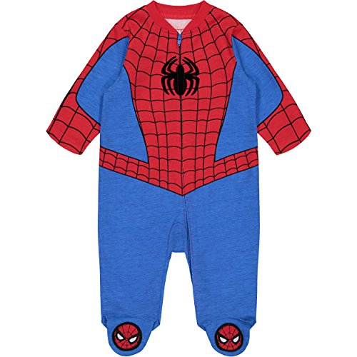 Marvel Avengers Spiderman Baby Boys' Zip-Up Costume Coverall with Footies (3-6 Months)