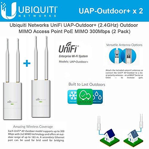 + 2-pack UniFi AP Outdoor+ 2.4GHz PoE 802.11n 300Mbps 600ft (802.11n Ap)