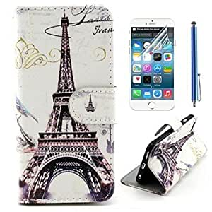 Mini - Eiffel Tower Design PU Leather Full Body Cover with Protective Film and Stylus for iPhone 6