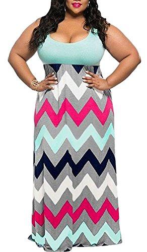 Women's Plus Size Scoop Neck Sleeveless Tank Top Chevron Zig Zag Stripe Maxi Dress Green 2XL