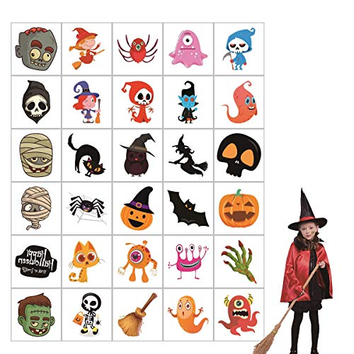 Easy Kids Halloween Decorations (150 Pack Halloween Temporary Tattoo, Happy Halloween Decorations Stick Tattoos for Kids Goodie Bags for Boys & Girls-30)