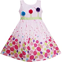 Sunny Fashion Girls Dress Colorful Dot 3 Flower Green Belt Party Birthdayren