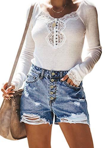 Sidefeel Women Vintage Rolled Shorts
