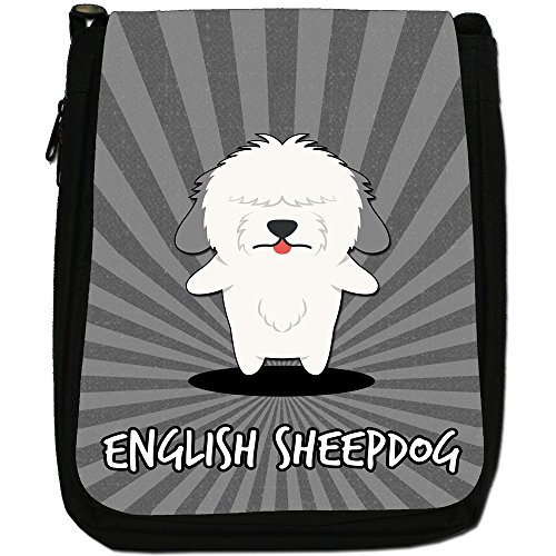 Medium Dulux Black Bag English Canvas Size Sheepdog Dog Dogs Shoulder Cartoon qzwCwEA
