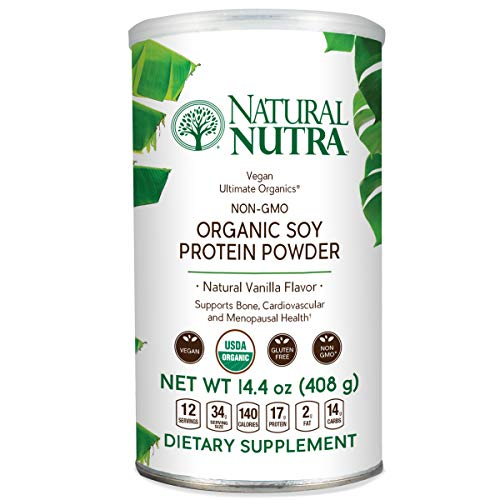 Natural Nutra Organic and Vegan Plant Based Soy Protein Isolate Powder, Vanilla, Raw, Low Carb, Non GMO, Gluten Free, 16 oz