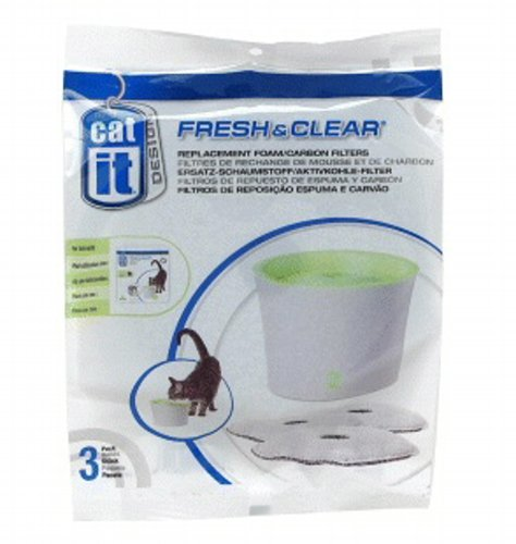 Clear Replacement Foam - Catit Foam Cartridge For 55600 18ct (6 x 3ct)
