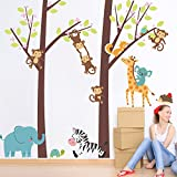 Jungle Animal Tree Elephant Giraffe Monkey Zebra Kids Baby Nursery Beyonds Creative Wall Decals Removable PVC Wall Stickers Murals Wallpaper Art Decor for Home Walls Ceiling Boys Room Bedroom School