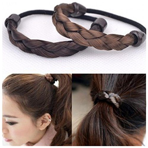 Braids Ponytails (Lovef 8pcs Hair Ring Hair Rope Elastic Braided Tonytail Wrap Hairband Fastening Accessories Synthetic Headwear Ponytails Holder)