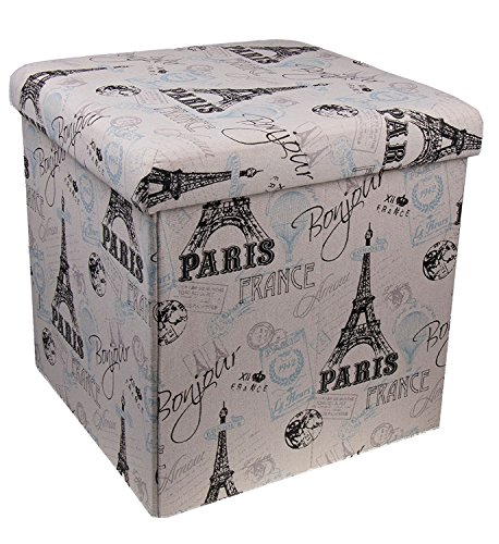 Premium White and Black Paris Themed Folding Ottoman Storage Organizer