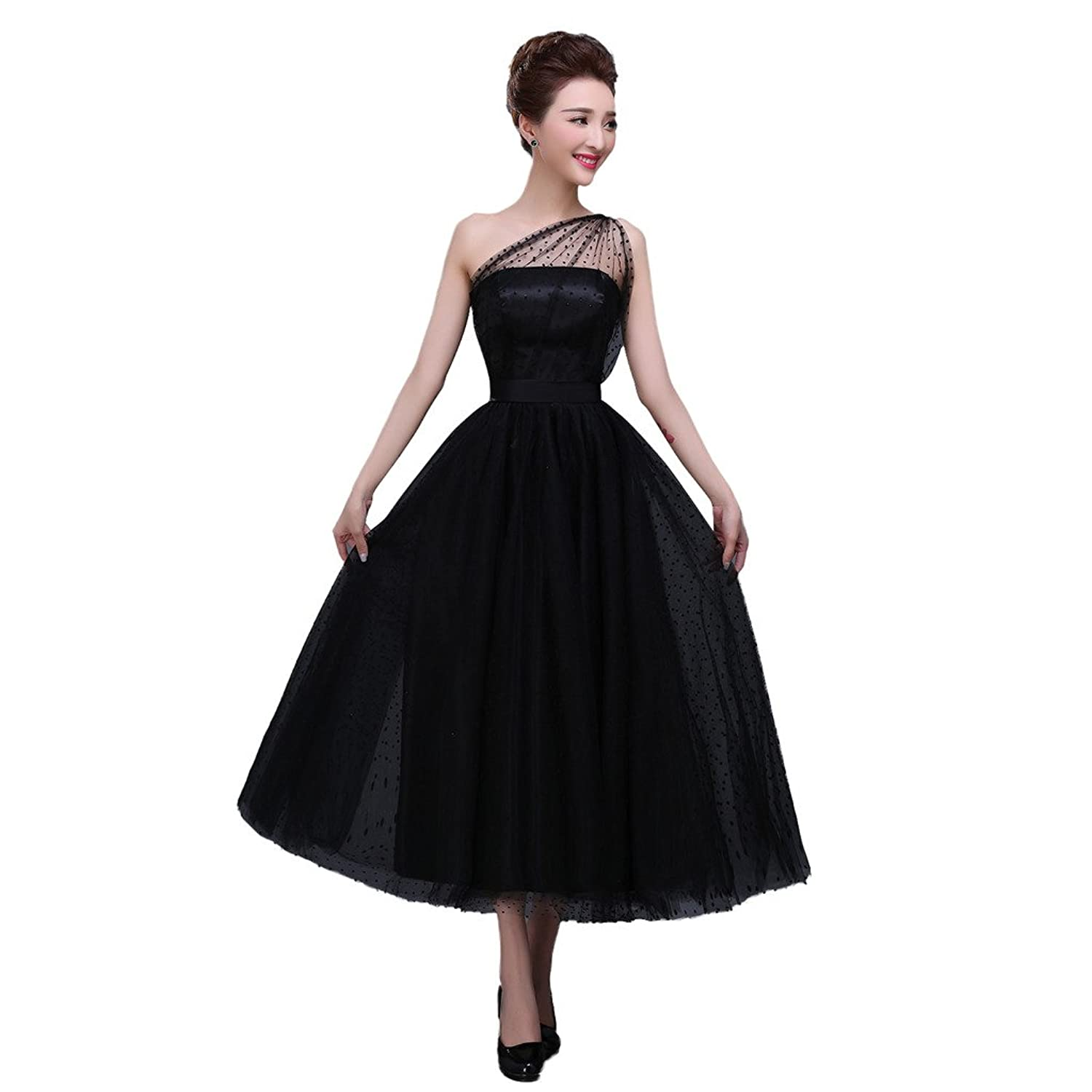 Vimans? Girl's Elegant Short One Shoulder Black Dresses for Evening Prom
