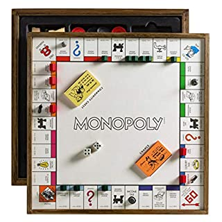 Winning Solutions Monopoly 5-in-1 Deluxe Edition - Wooden Game Board with Chess and Checkers
