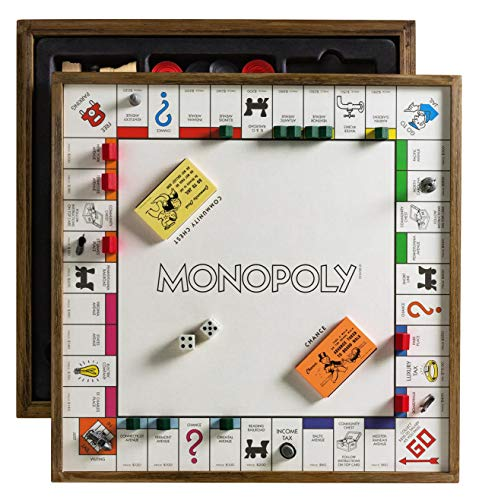 Monopoly Deluxe Vintage 5-in-1 Edition - Wooden Game Board with Chess, Checkers, Poker Dice, and Monoply Deal -