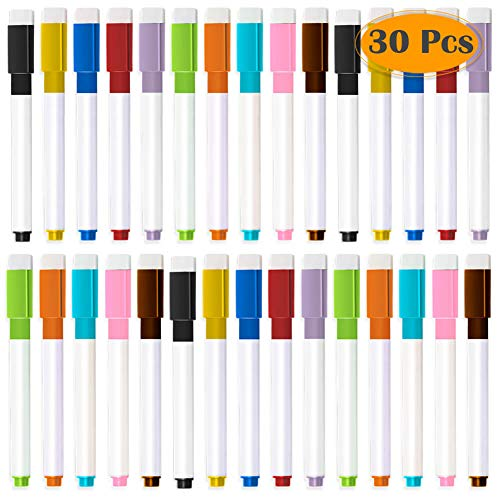 Selizo 30 Pcs Dry Erase Markers Magnetic Whiteboard Markers with Erasers Cap and Pencil Pouch for Office ()