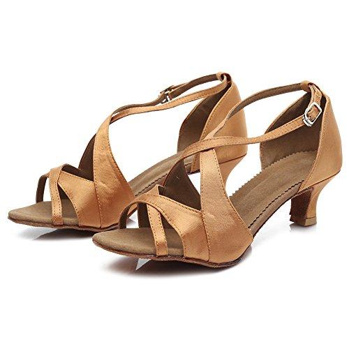 Roymall Womens Satin Latin Dance Shoes Ballroom Salsa Tango Performance Shoes,Model B62 5cm Brown