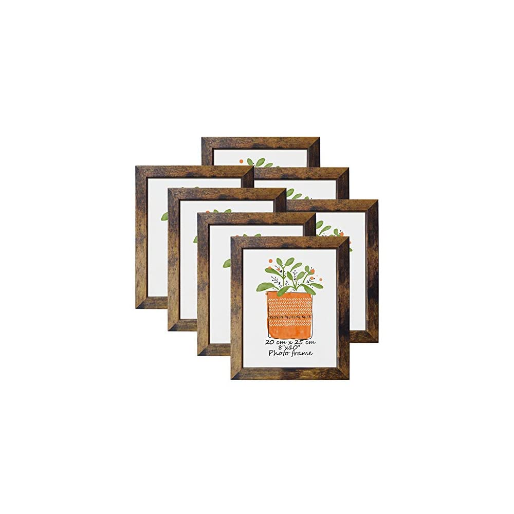 PETAFLOP 8x10 Picture Frame Rustic Brown Frames Fits 8 by 10 Inch Prints Wall Tabletop Display, 7 Pack