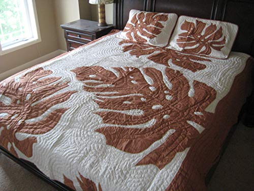 Kauhale Living Hawaiian Hand Quilted Appliqued Quilt 102 x 100 Comforter Set with 2 Pillow Shams 30x20 100% Cotton - Monstera