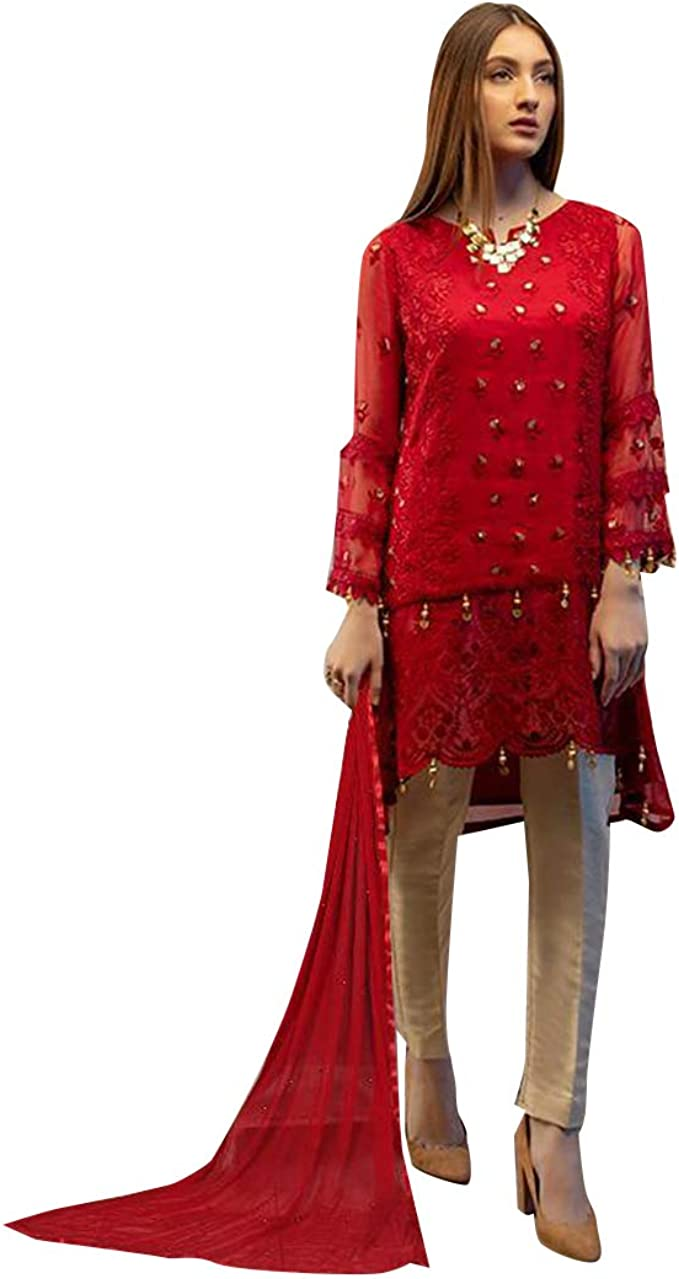 Amazon Com Red Designer Uneven Kurti Style Salwar Kameez Suit Muslim Pakistani Dress Women Party Wear Un Stitch 7867 Clothing