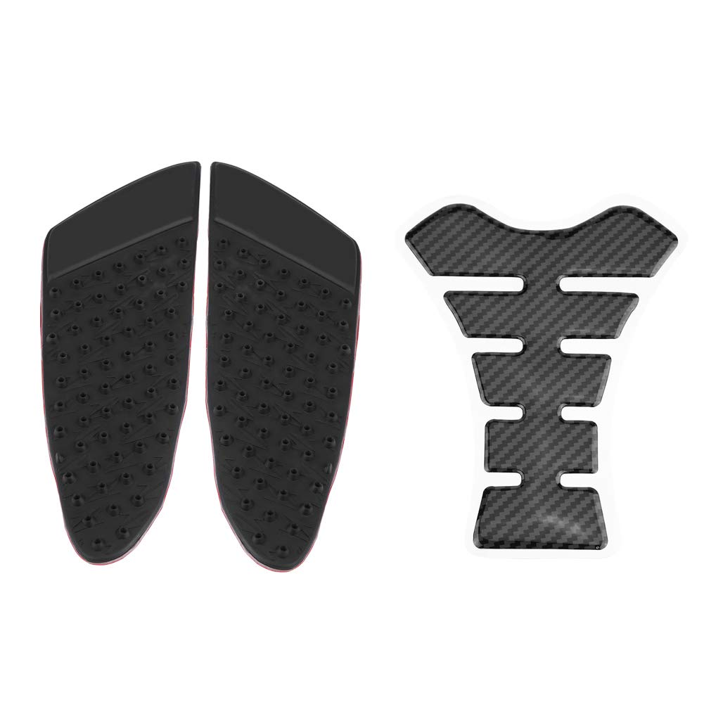 Acouto Motorcycle Gas Tank Side Fuel Grip Pad Protector and Fishbone Decal Sticker for Kawasaki Z900 17-18