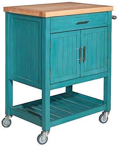 - Powell's Furniture D1008A15T Conrad Kitchen Cart, Teal