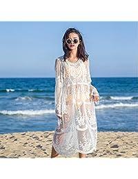 &zhou Female lace dress, beach holiday beach skirt, sun jacket blouse