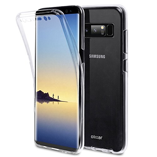 Olixar for Samsung Galaxy Note 8 Full Body Case - 360 Degree Full Body Cover - Front + Back Protection - Clear Slim Design - Wireless Charging Compatible - FlexiCover - Clear